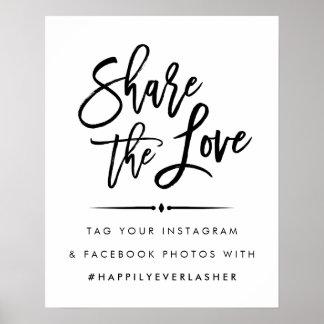 愛|モダンな結婚のHashtagを共有して下さい ポスター