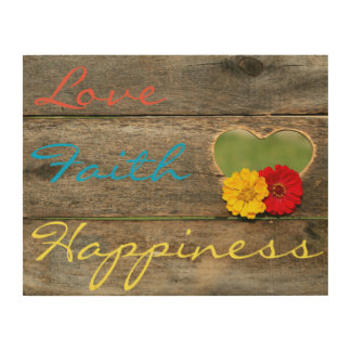 愛、信頼、木製板のハートの幸福 ウッドウォールアート