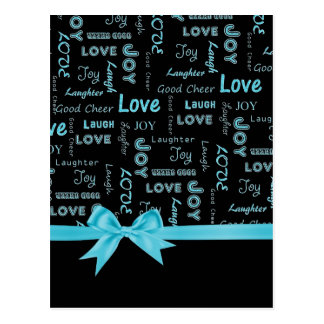 愛、喜び、笑い声、笑い、よい応援の単語 ポストカード
