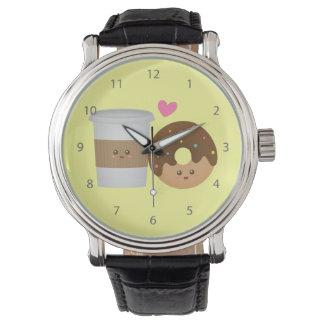 愛、完全な組のかわいいコーヒーそしてドーナツ 腕時計