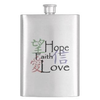 愛、希望および信頼のための中国のな記号 フラスク
