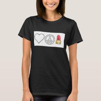 愛、平和および口紅 Tシャツ