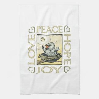 愛、平和、希望、喜び キッチンタオル