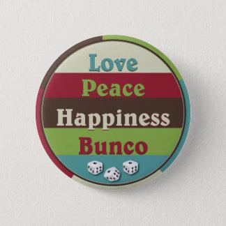 愛、平和、幸福のBuncoボタン 5.7cm 丸型バッジ