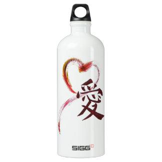 愛-愛のための漢字とのSumi-eのハート ウォーターボトル