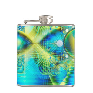 愛、抽象芸術の水晶ライムのターコイズのハート フラスク