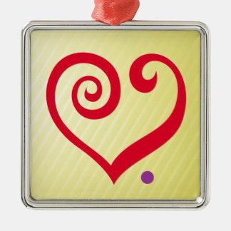 愛。 期間! 愛声明の赤いハート メタルオーナメント