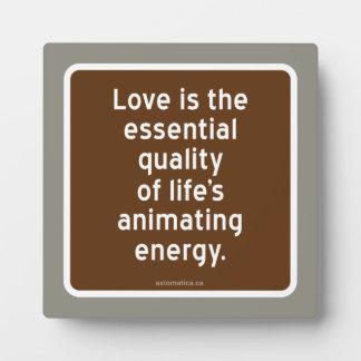 愛: 活気づけるエネルギー必要な生活環境基準 フォトプラーク