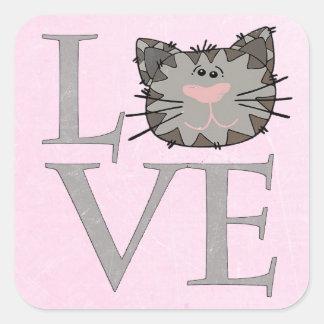 愛、灰色猫の顔のステッカー スクエアシール