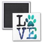 愛、犬の足のプリントの磁石 マグネット