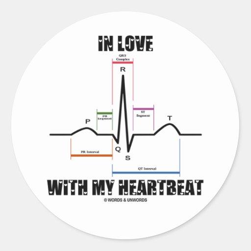 愛|私|心拍|(心電図) 丸形シール・ステッカー