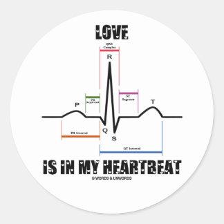 愛 私 心拍 ECG EKG 心電図 丸形シールステッカー