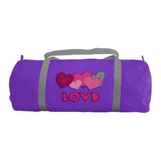"""""""愛""""紫色の体育館かDuffleバッグ ジムバッグ"""
