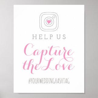 愛|結婚のHashtag印を捕獲して下さい ポスター