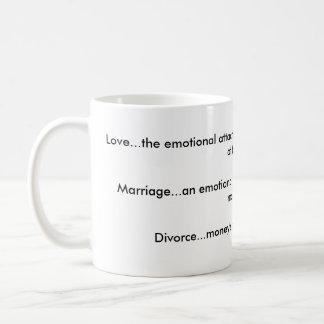 愛、結婚、離婚のマグ コーヒーマグカップ
