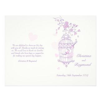 愛|鳥|紫色|ピンク|大きい|結婚|プログラム フルカラーチラシ広告