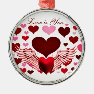 愛、Heart_へのハート メタルオーナメント