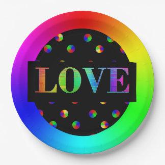 愛、LGBTの虹のパーティーの紙皿 ペーパープレート