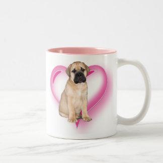 愛Bullmastiffの子犬のマグ ツートーンマグカップ