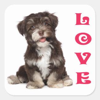 愛Havaneseの小犬のステッカーのシール スクエアシール