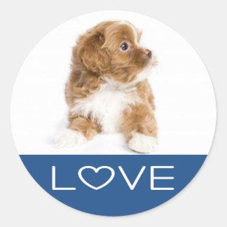 愛Havaneseの小犬のステッカー ラウンドシール