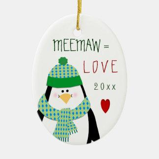 愛MeeMaw (か名前)ペンギンのクリスマスのギフト セラミックオーナメント