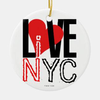 愛NYCはNYCのオーナメントの白黒に住んでいます セラミックオーナメント