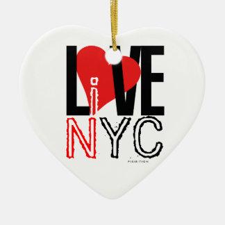 愛NYCはNYCのハートのオーナメントの白黒に住んでいます セラミックオーナメント