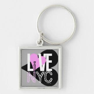 愛NYCはNYC Keychainの灰色のピンクに住んでいます キーホルダー
