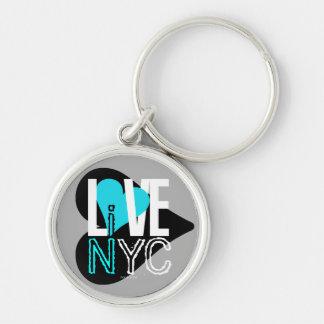 愛NYCはNYC Keychainの灰色の青に住んでいます キーホルダー