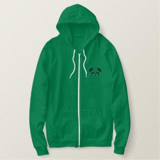 愛Panda®のアメリカの服装のフリースのジッパーのフード付きスウェットシャツ 刺繍入りパーカ