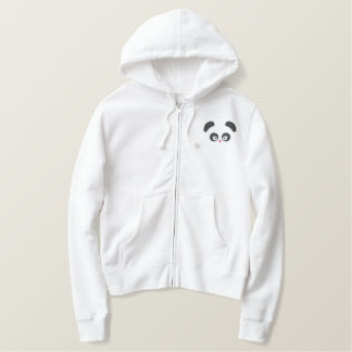 愛Panda®の女性ジッパーのフード付きスウェットシャツ 刺繍入りパーカ