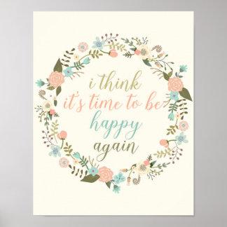 感動的で幸せな引用文の芸術の花の引用文ポスター ポスター