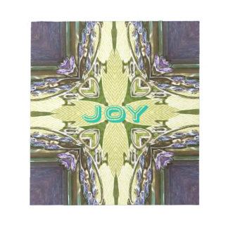 感動的で抽象的な十字の中心の「喜び」の形 ノートパッド