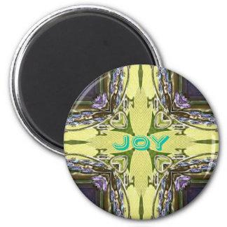 感動的で抽象的な十字の中心の「喜び」の形 マグネット