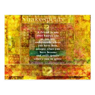 感動的なウィリアム・シェイクスピアの引用文の友情 ポストカード