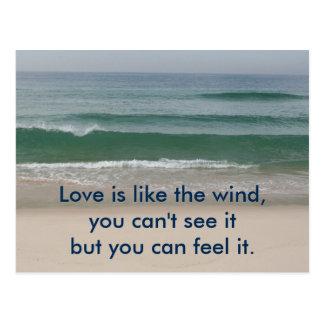 感動的なカード: 愛は風のようです ポストカード