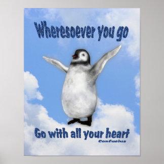 感動的なペンギンの孔子の態度の引用文 ポスター
