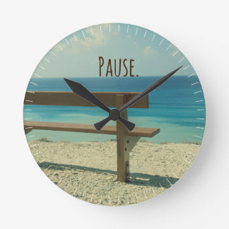 感動的な単語: 休止のビーチのテーマ ラウンド壁時計