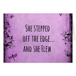 感動的な引用文: 彼女は端を離れて歩みました カード