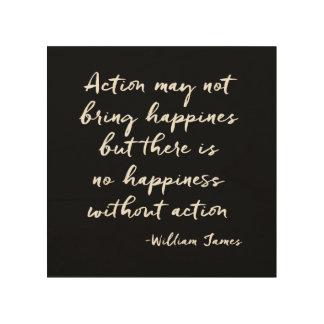 感動的な引用文: 行為および幸福 ウッドウォールアート