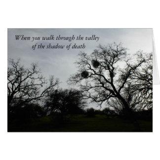 感動的な心地よいカード: 灰色の空に対するカシ カード