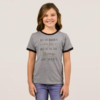 感動的な心配および恵み|の信号器のワイシャツ リンガーTシャツ