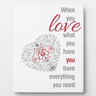 感動的な愛ある何が-引用するため時 フォトプラーク