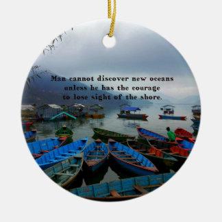 感動的な旅行引用文の発見のボートの写真 セラミックオーナメント