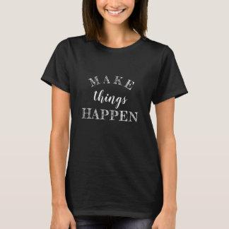 感動的な白黒生命引用文 Tシャツ