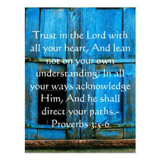 感動的な聖書の引用文の諺の3:5 - 6 ポストカード