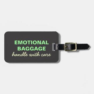 感情的な手荷物: 緑の心配と黄色い扱って下さい ラゲッジタグ