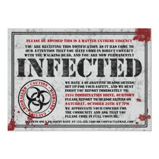 感染させた通知のゾンビのハローウィンパーティの招待状 12.7 X 17.8 インビテーションカード