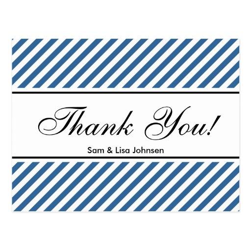 感謝していして下さい  郵便はがき 青い ストライブ柄 パターン